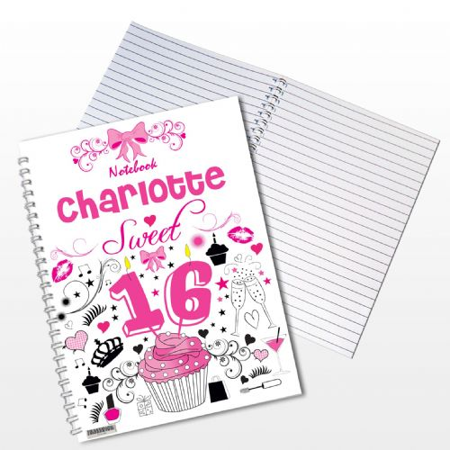 Personalised Sweet 16 Notebook